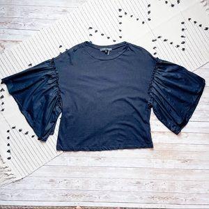 English Factory Ruffle Puff Sleeve Black Shirt Med